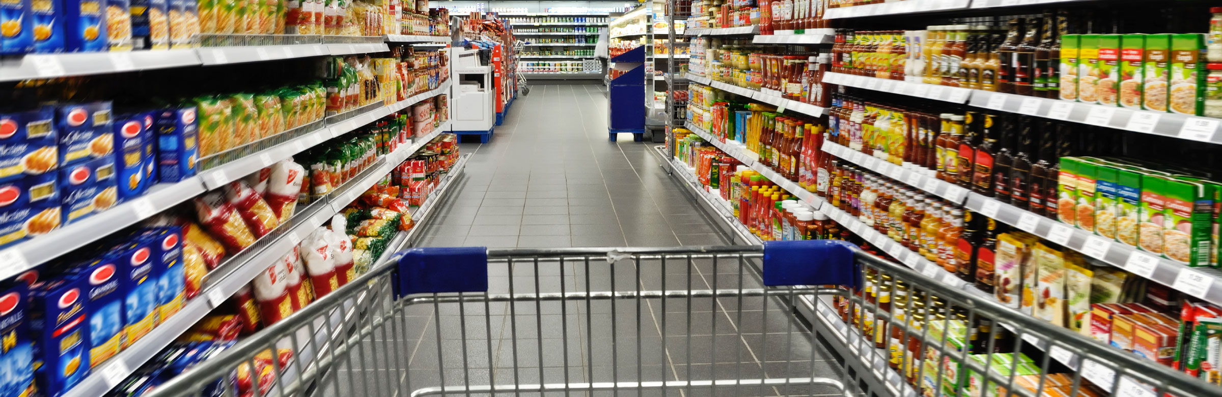 empty cart, grocery store aisle